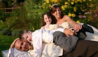 Bride, Groom and kids photo