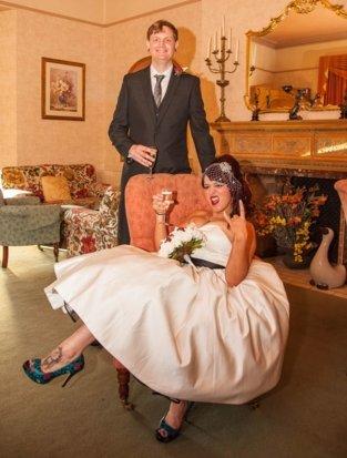 "Bride ""rocking it"" photo"