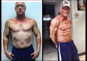 Coach Ryan Fitness client before and after transformation who competed in his first bodybuilding show.