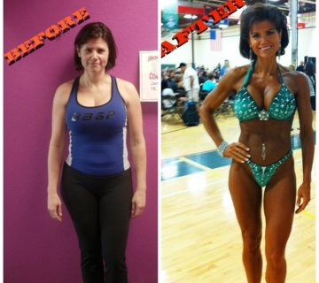 Coach Ryan Fitness before and after photo of client competing in the NPC Branch Warren Classics Figure division.