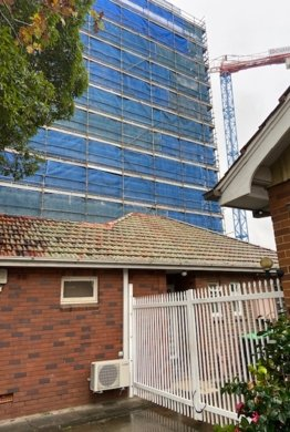 Residential scaffolding built behind a home in Redfern, Sydney, NSW