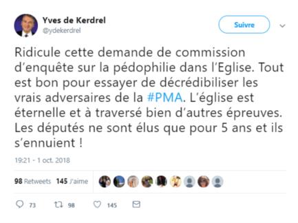 Tweet d'Yves de Kerdrel sur l'église