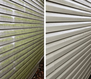 house siding before and after cleaned