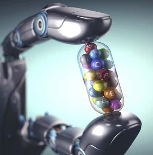 Robot holding with two fingers huge  medical capsule