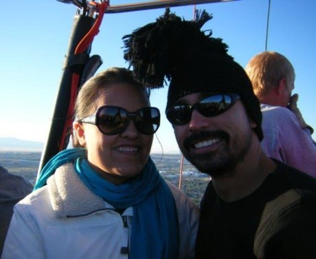 Coach Ryan with his wife in a hot air balloon in New Mexico
