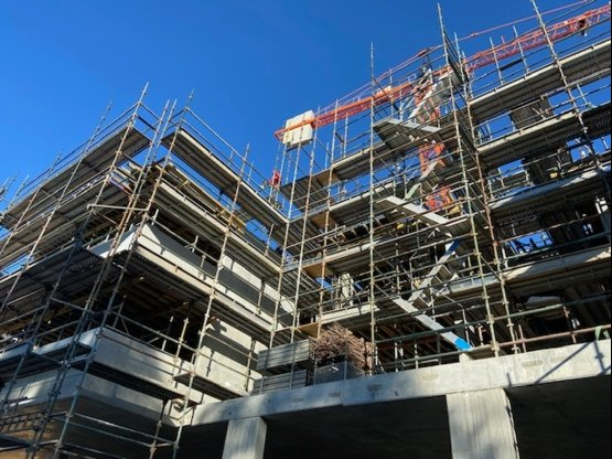 Commercial grade scaffolding being built in Glebe for a new development project