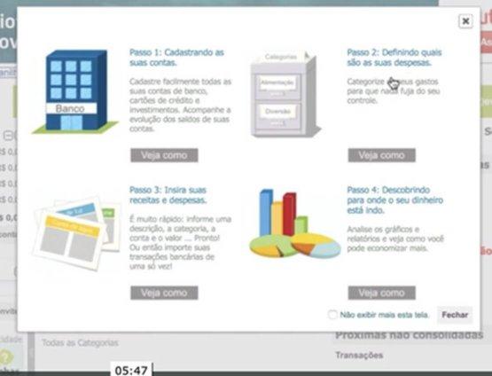 Configuração de contas bancárias e cartão de créditos