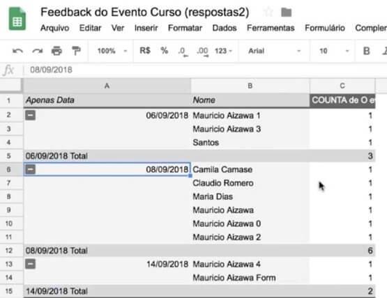 Análise de dados em formulários