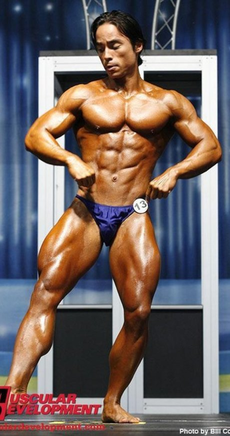 Coach Ryan competing in bodybuilding at the 2008 NPC Europa Classics.