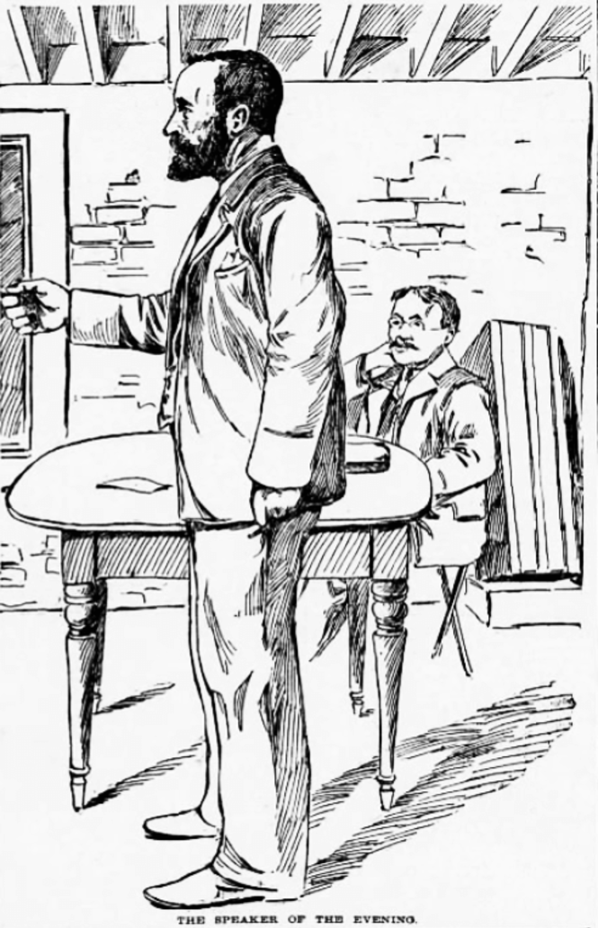 """Ragnar Redbeard orates at The Chicago Commons, April 21, 1896, as """"Mr. Smith."""" Might is Right: or The Philosophy of Power."""