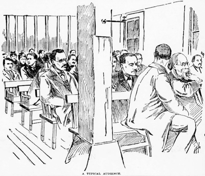 """A Typical Audience Ragnar Redbeard orates at The Chicago Commons, April 21, 1896, as """"Mr. Smith."""" Might is Right: or The Philosophy of Power."""