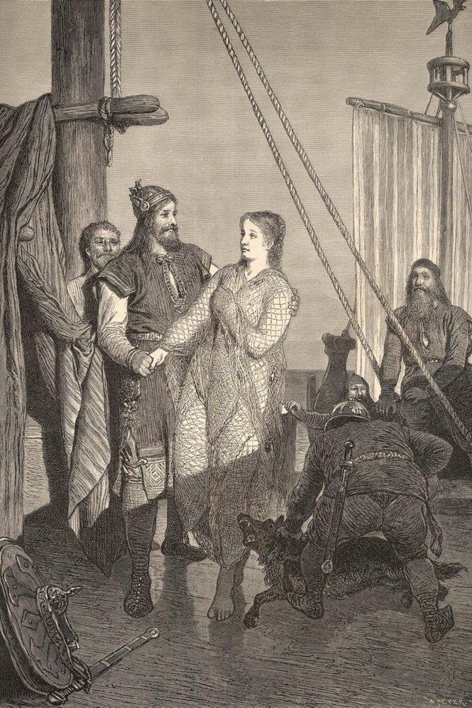 Ragnar Lodbrock meets Kráka (Áslaug) by August Malmström 1880
