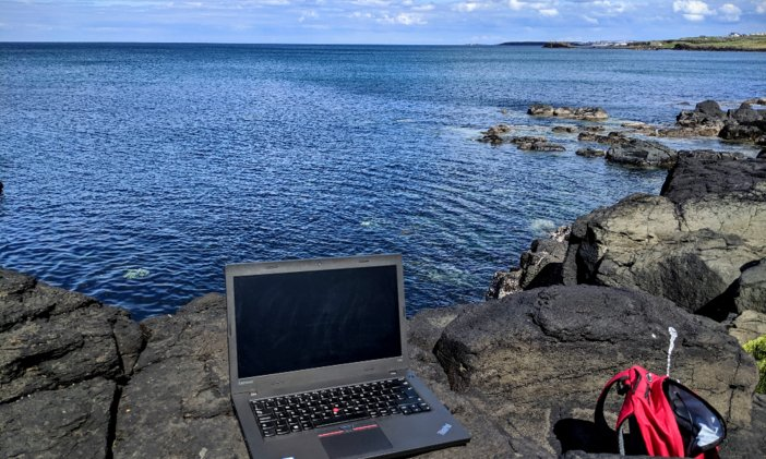 remote working at the seaside.