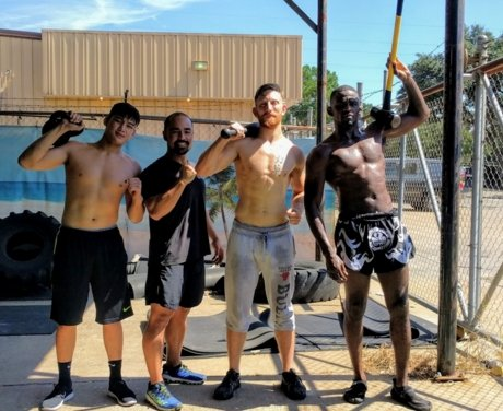 Coach Ryan group training mma fighters and boxers