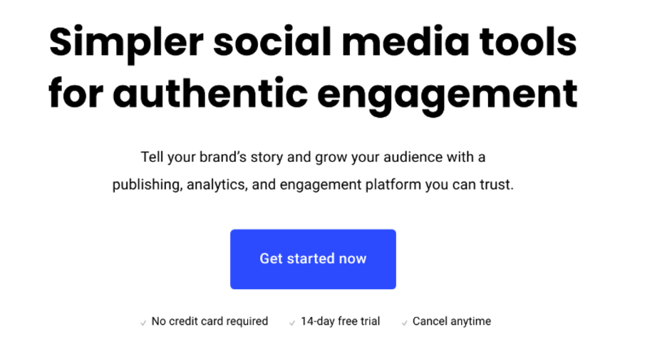 Buffer social media tool landing page design